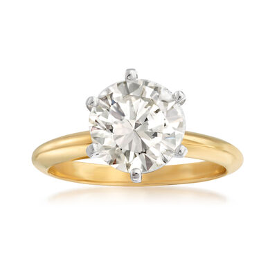3.06 Carat Diamond Solitaire Ring in 14kt Yellow Gold