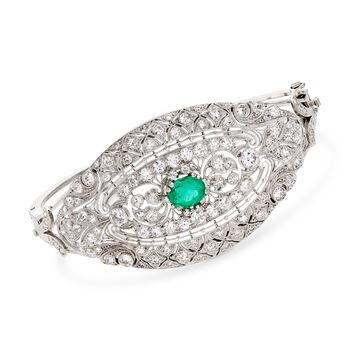 "3.25 ct. t.w. Diamond and 1.05 Carat Emerald Filigree Bangle Bracelet in 18kt White Gold. 7"", , default"
