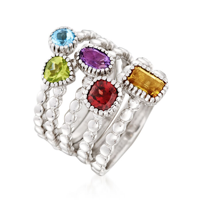 2.50 ct. t.w. Multi-Gem Jewelry Set: Five Rings in Sterling Silver