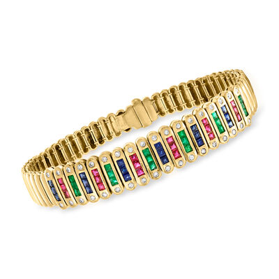 C. 1980 Vintage 4.40 ct. t.w. Multi-Gemstone and .55 ct. t.w. Diamond Link Bracelet in 18kt Yellow Gold