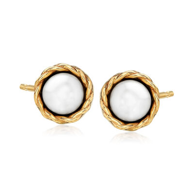 8mm Cultured Pearl Stud Earrings in Sterling Silver and 14kt Yellow Gold
