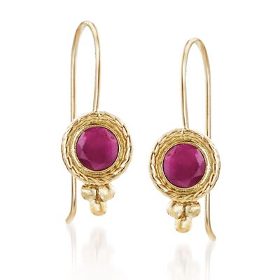.60 ct. t.w. Ruby Drop Earrings in 14kt Yellow Gold, , default