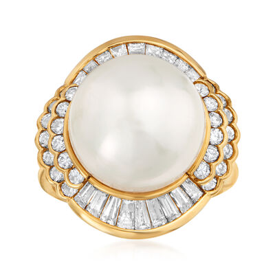 C. 1980 Vintage 13.5mm Cultured South Sea Pearl and 1.45 ct. t.w. Diamond Ring in 18kt Yellow Gold