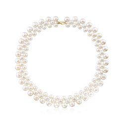 """6-9.5mm Cultured Pearl Collar Necklace With 14kt Yellow Gold. 20"""", , default"""