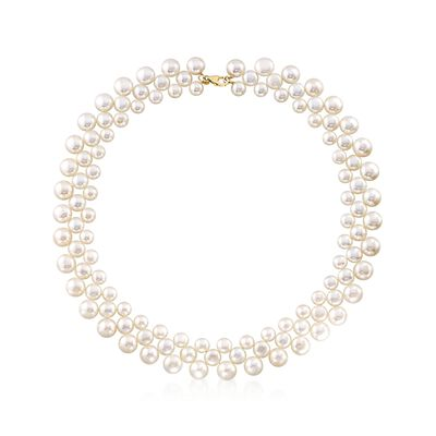 6-9.5mm Cultured Pearl Collar Necklace With 14kt Yellow Gold, , default