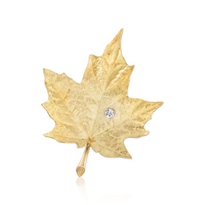 C. 1970 Vintage .10 Carat Diamond Maple Leaf Brooch in 18kt Yellow Gold, , default