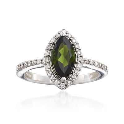 C. 2000 Vintage .75 Carat Green Tourmaline and .25 ct. t.w. Diamond Ring in 14kt White Gold, , default