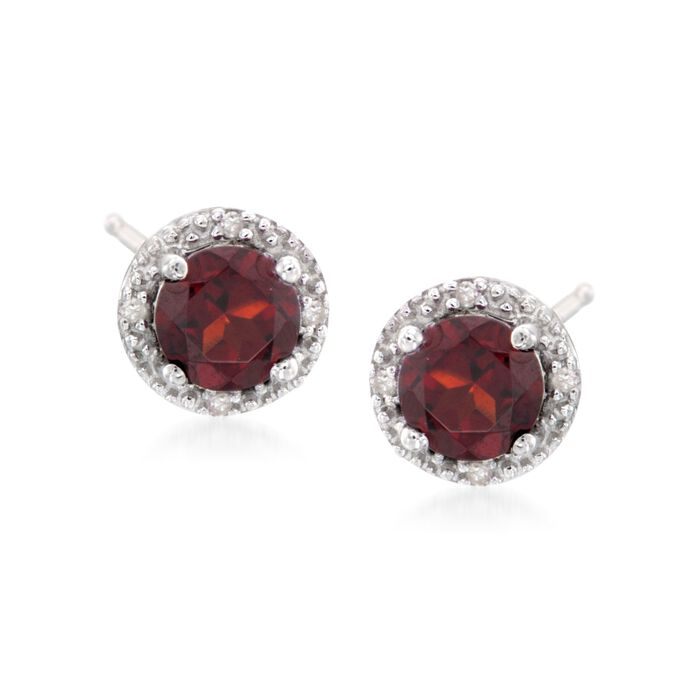 2.00 ct. t.w. Round Garnet Stud Earrings with Diamond Accents in Sterling Silver