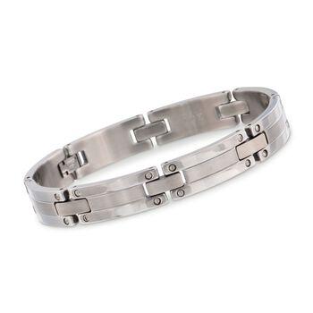 "Men's Stainless Steel Screwhead Sectioned Bracelet. 8.5"", , default"