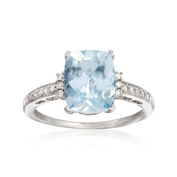 2.70 ct. t.w. Aquamarine and .12 ct. t.w. Diamond Ring in 14kt White Gold, , default