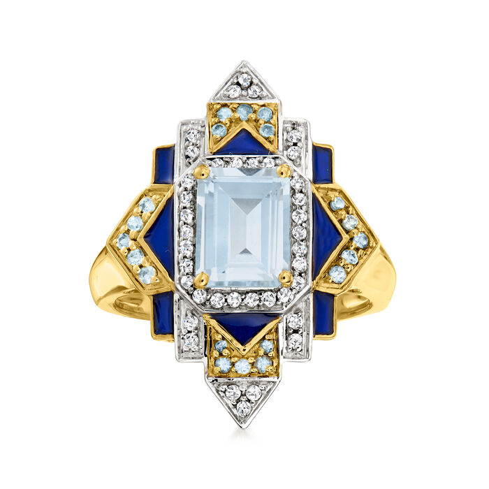 2.10 ct. t.w. London Blue, Sky Blue and White Topaz Ring with Blue Enamel in 18kt Gold Over Sterling