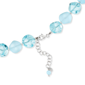 Italian Aqua Blue Murano Glass Bead Necklace with Sterling Silver, , default
