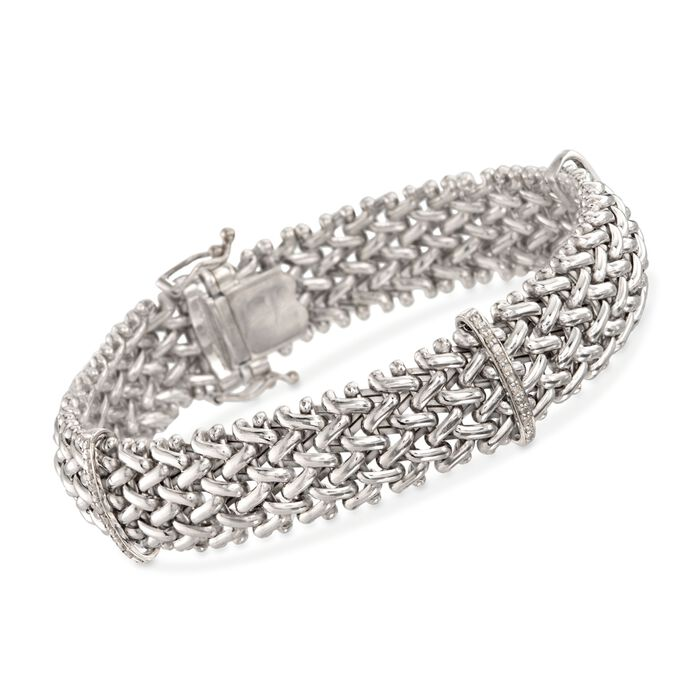 .23 ct. t.w. Diamond Riso Link Station Bracelet in Sterling Silver, , default