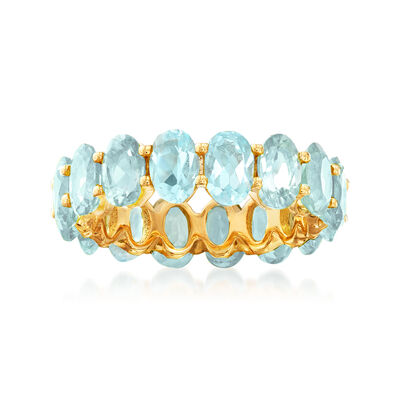 8.00 ct. t.w. Sky Blue Topaz Eternity Band in 18kt Gold Over Sterling, , default