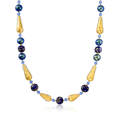 Italian 5-14mm Multicolored Murano Glass Bead Necklace in 18kt Gold Over Sterling