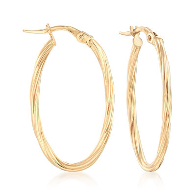 Italian 18kt Yellow Gold Large Oval Hoop Earrings, , default
