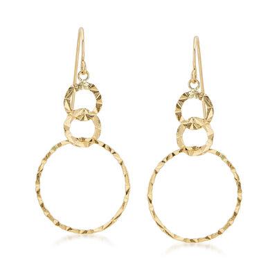 14kt Yellow Gold Triple Interlocking Circle Drop Earrings, , default