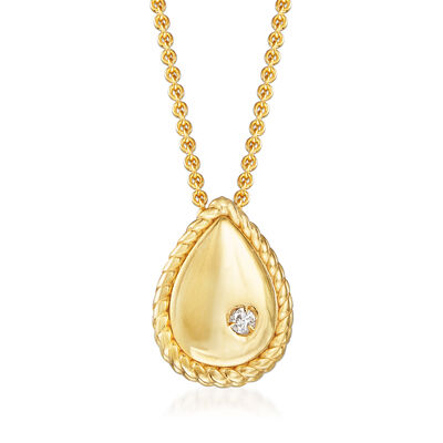 "Phillip Gavriel ""Italian Cable"" Teardrop Pendant Necklace with Diamond Accent in 14kt Yellow Gold, , default"
