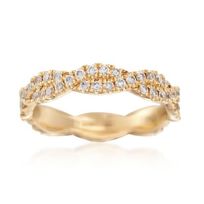 Henri Daussi .70 ct. t.w. Diamond Twisted Eternity Band in 18kt Yellow Gold, , default