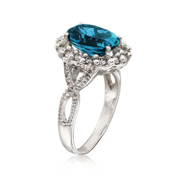 C. 1990 Vintage 4.05 Carat Blue Topaz and .55 ct. t.w. Diamond Ring in 14kt White Gold. Size 7, , default