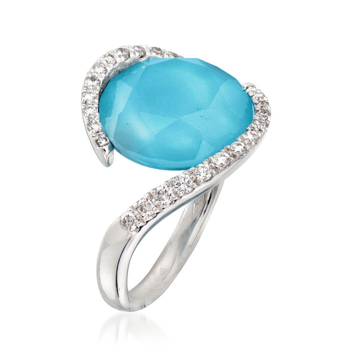 C. 1990 Vintage Piero Milano Synthetic Turquoise Doublet and .35 ct. t.w. Diamond Ring in 18kt White Gold