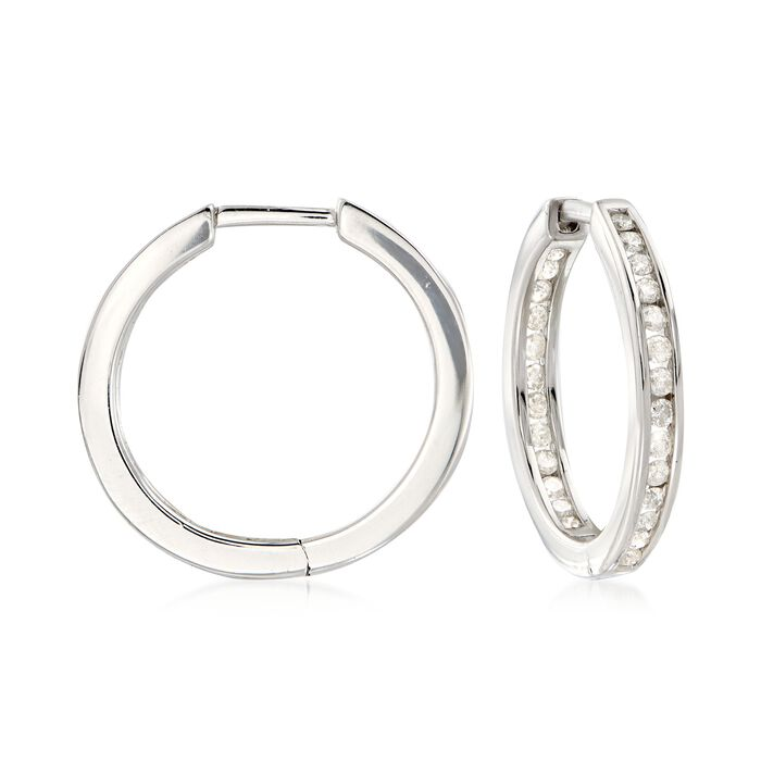 .50 ct. t.w. Channel-Set Diamond Inside-Outside Hoop Earrings in Sterling Silver. 5/8""