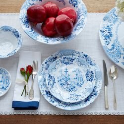 """Cambridge Rose"" Cobalt Melamine Dinnerware , , default"