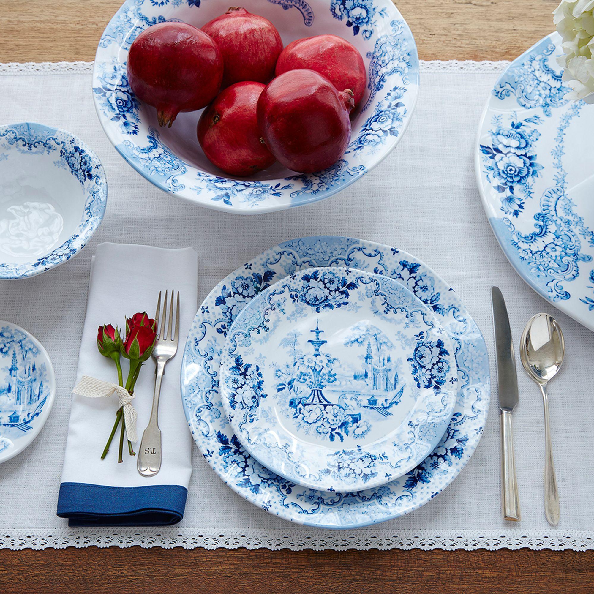 u0026quot;Cambridge Roseu0026quot; Cobalt Melamine Dinnerware   default & Cambridge Rose