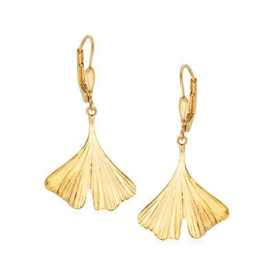 14kt Yellow Gold Leaf Drop Earrings, , default