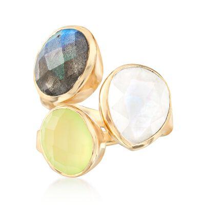 Prehnite, Labradorite and Moonstone Ring in 18kt Gold Over Sterling, , default