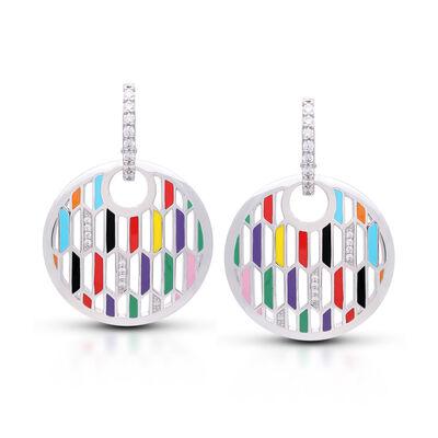 """Belle Etoile """"Trapezio"""" Multicolored Enamel and .34 ct. t.w. CZ Disc Earrings in Sterling Silver"""