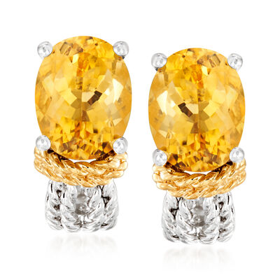 4.00 ct. t.w. Citrine Earrings in Sterling Silver with 14kt Yellow Gold