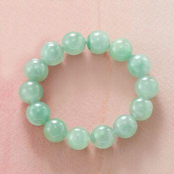 "Green Jade Bead Stretch Bracelet. 7"", , default"