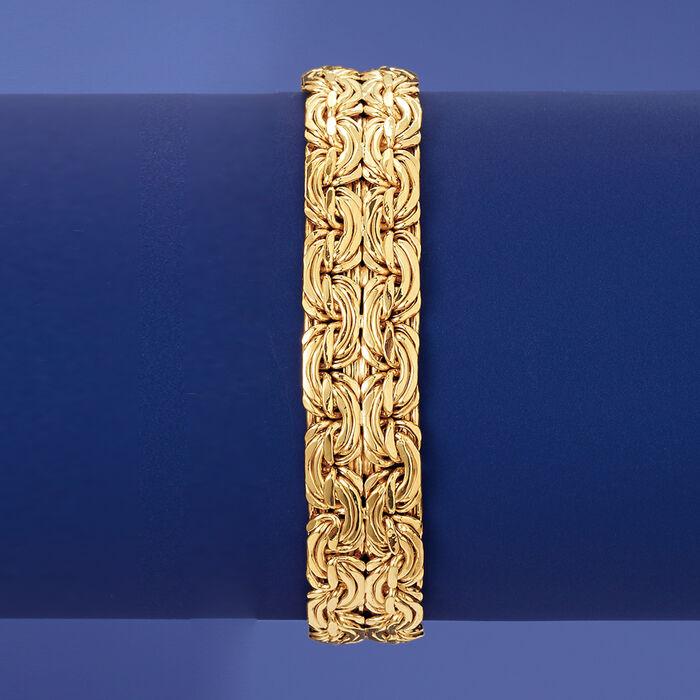 18kt Yellow Gold Over Sterling Silver Wide Byzantine Bracelet