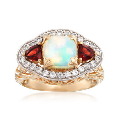 Opal and 1.20 ct. t.w. Multi-Stone Ring in 14kt Yellow Gold, , default