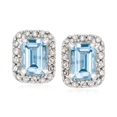 1.10 ct. t.w. Aquamarine and .27 ct. t.w. Diamond Earrings in 14kt White Gold
