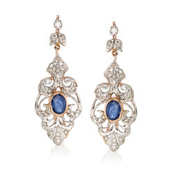 C. 1980 Vintage 1.50 ct. t.w. Sapphire and .65 ct. t.w. Diamond Scroll Drop Earrings in 18kt Two-Tone Gold, , default
