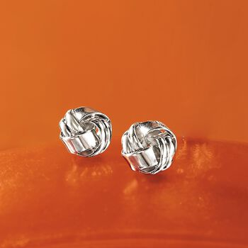 Sterling Silver Ribbed Love Knot Earrings , , default
