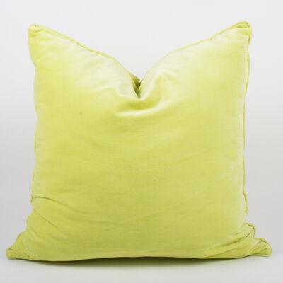 Set of 2 Yellow Velvet Throw Pillows, , default