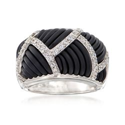 """Belle Etoile """"Striatta"""" .54 ct. t.w. CZ and Black Rubber Ring in Sterling Silver. Size 7, , default"""
