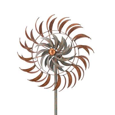 "Regal ""Copper Petals"" Metal Outdoor Rotating Wind Spinner"