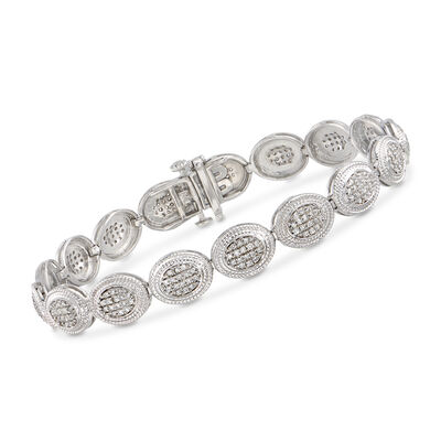 1.00 ct. t.w. Diamond Cluster Bracelet in Sterling Silver, , default