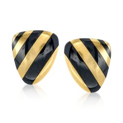 C. 1990 Vintage Angela Cummings Black Onyx Striped Clip-On Earrings in 18kt Yellow Gold , , default