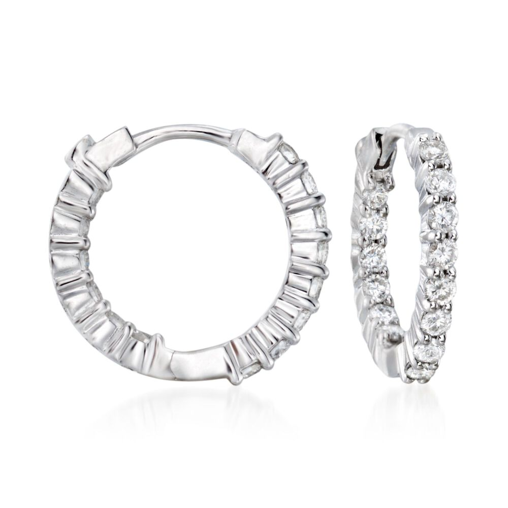 2c42bc459eaf5 Roberto Coin .76 ct. t.w. Diamond Hoop Earrings in 18kt White Gold