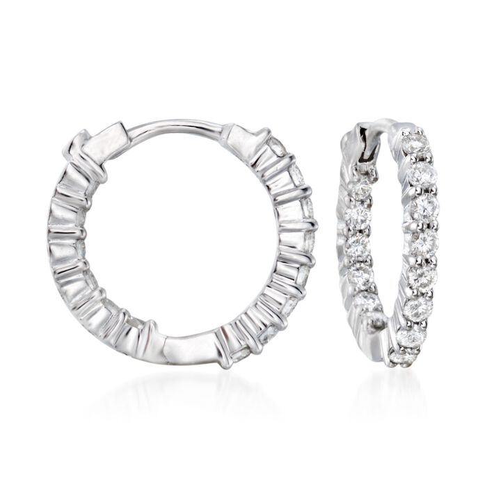 Roberto Coin .76 ct. t.w. Diamond Hoop Earrings in 18kt White Gold , , default