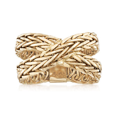 14kt Yellow Gold Flat Wheat-Link Crisscross Ring, , default