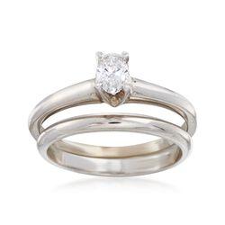 C. 1990 Vintage 14kt White Gold Bridal Set: Wedding Band and .25 Carat Diamond Engagement Ring. Size 6, , default