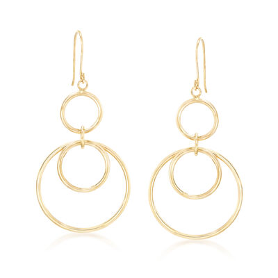 14kt Yellow Gold Open Multi-Circle Drop Earrings, , default