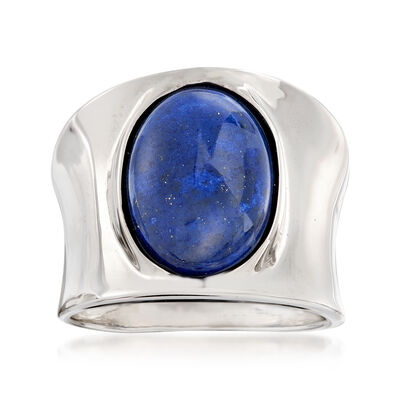 Italian 14x10mm Lapis Ring in Sterling Silver, , default