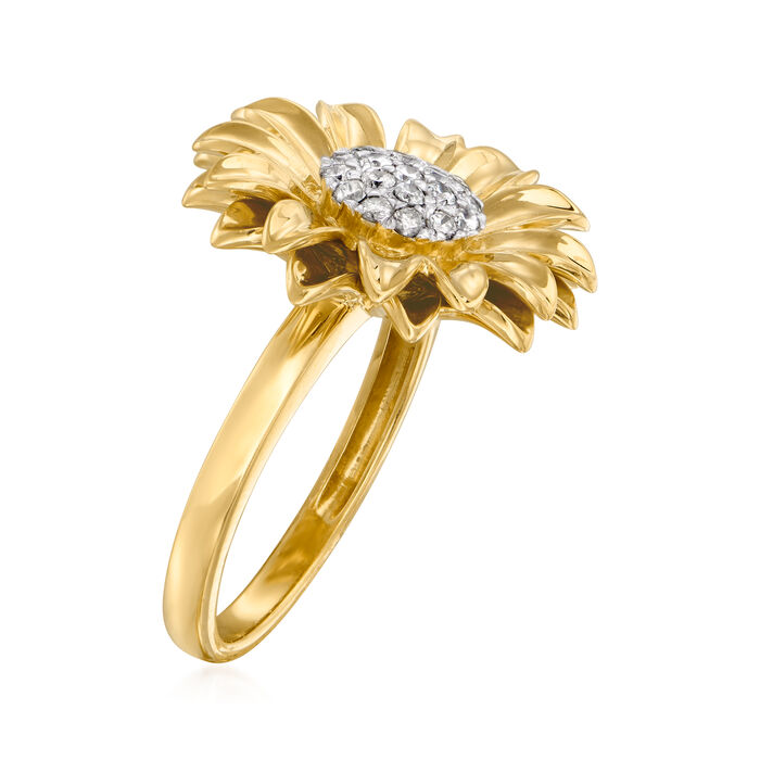 .25 ct. t.w. Diamond Sunflower Ring in 18kt Gold Over Sterling